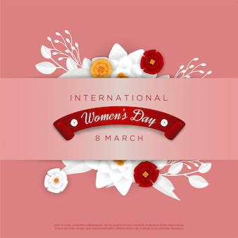 행복한 여성의 날 꽃 인사말 카드