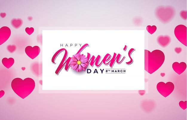 꽃과 함께 행복 한 여성의 날 꽃 그림
