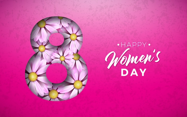 Happy women's day floral illustration with flower