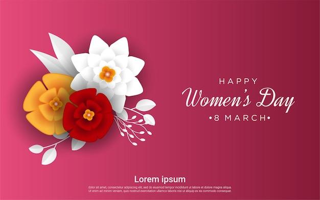 행복 한 여성의 날 빨간색에 꽃 프리미엄 벡터