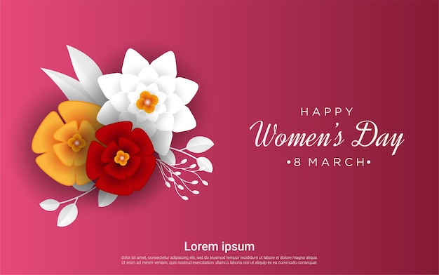 Happy women's day floral on red
