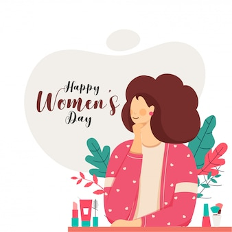 Happy women's day font with cartoon young girl, makeup items and leaves on white background.