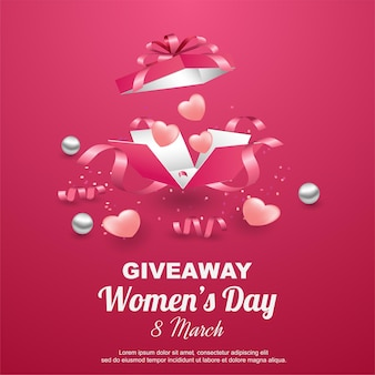 Happy women's day giveaway with open gift box