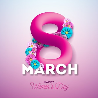 Happy Women's Day Greeting Card Design