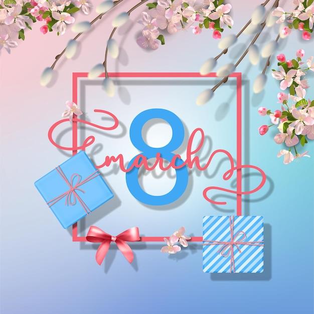 3月8日の幸せな女性の日のグリーティングカード