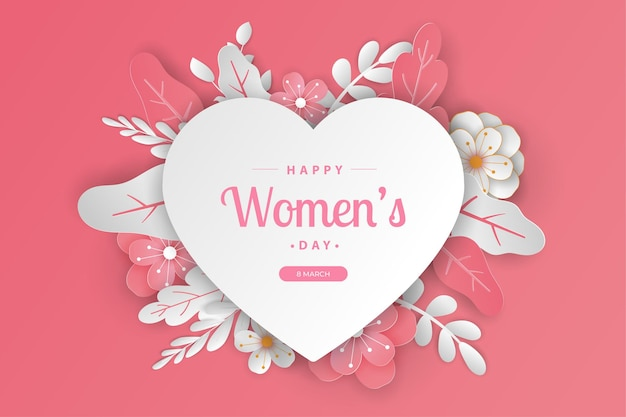 編集可能なテキストでカットされた幸せな女性の日のグリーティングカード紙。
