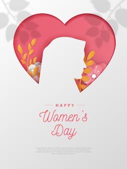 С днем женщин поздравительная открытка бумаги вырезать с редактируемым текстом.