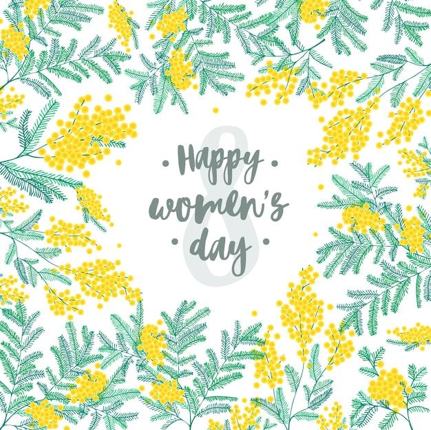 Поздравительная открытка с женским днем против восьмерки в окружении красивых цветущих желтых цветов мимозы и зеленых листьев