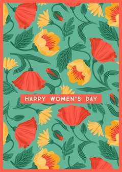 Happy women's day greeting card with beautiful flowers