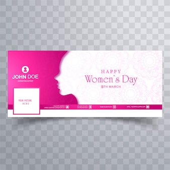 Happy women's day greeting card with facebook cover template