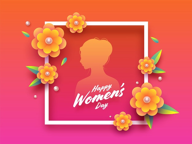 Happy women's day greeting card with frame and female silhouette