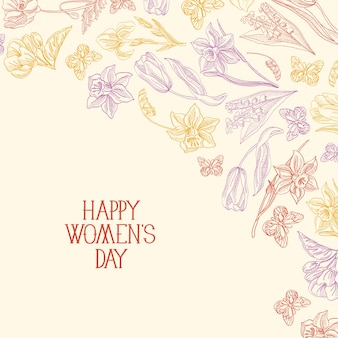 Happy women's day greeting card with many colors and flowers to the right of the red text with greetings vector illustration