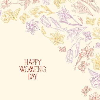 Cartolina d'auguri di felice festa della donna con molti colori e fiori a destra del testo rosso con illustrazione di vettore di saluti