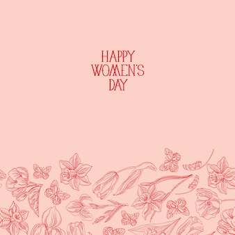 Happy women's day greeting card with many flowers to the right of red text with greetings vector illustration