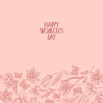 Cartolina d'auguri di felice festa della donna con molti fiori a destra del testo rosso con illustrazione di vettore di saluti