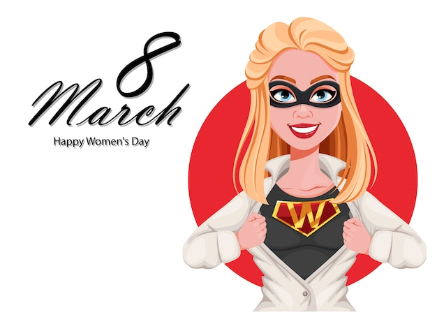 Happy women's day greeting card. woman superhero