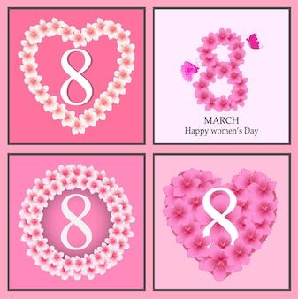 ハッピーレディースデーグリーティングカード、女性とテキスト3月8日。