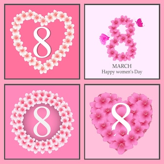 Happy women' s day greeting card, women and text 8th march.