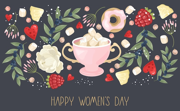 Happy women's day greeting  with hand drawn flowers background