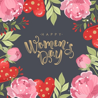 손으로 그린 꽃 배경으로 행복 한 여성의 날 인사말