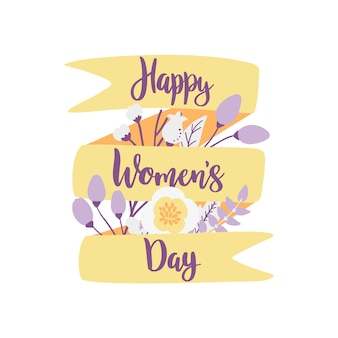 Happy women's day, hand drawn vector illustration.