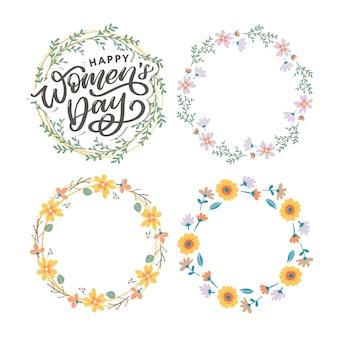 행복한 여성의 날 필기체 글자와 꽃 화환 세트