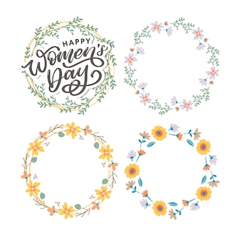 Happy women's day handwritten lettering and floral wreath set