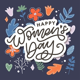 Happy women's day handwritten lettering