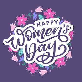 Happy women's day handwritten lettering