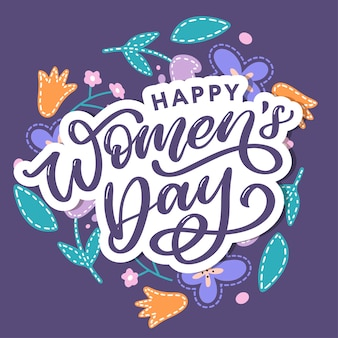 Happy women's day handwritten lettering.