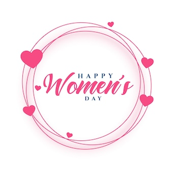 Happy women's day hearts frame greeting card design