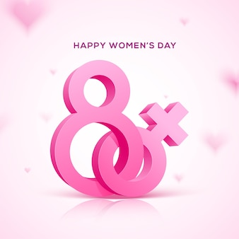 Happy women's day holiday . 3d eight pink text with pink female symbol.