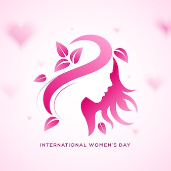 Happy women's day holiday . pink gradient face with leaves and hairs.