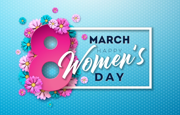 Happy women's day illustration with flower design