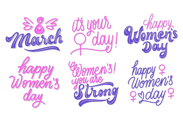 Happy women's day lettering label collection