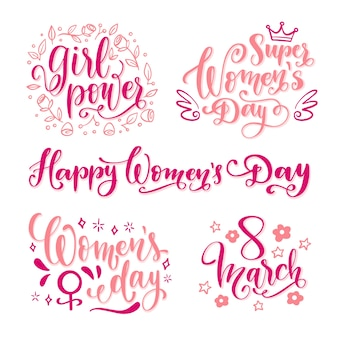 Happy women's day lettering label set