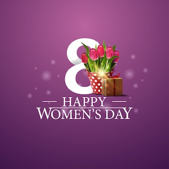 Happy women's day logo with gifts