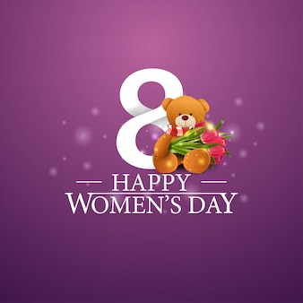 Happy women's day logo with number eight and teddy bear