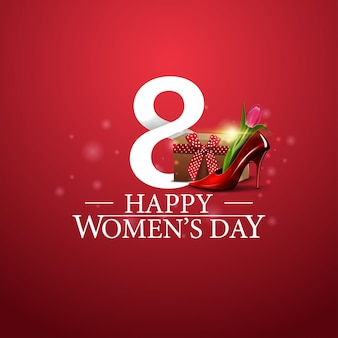 Happy women's day logo with number eight and women's shoe