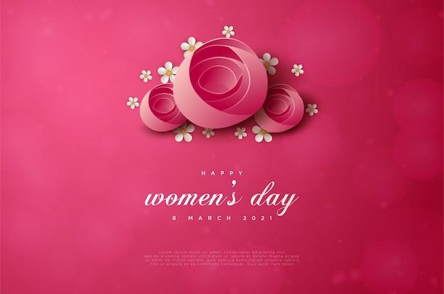 Счастливого женского дня 8 марта с тремя цветами наверху.