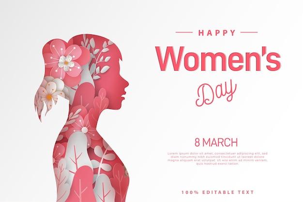 Happy women's day paper cut style.