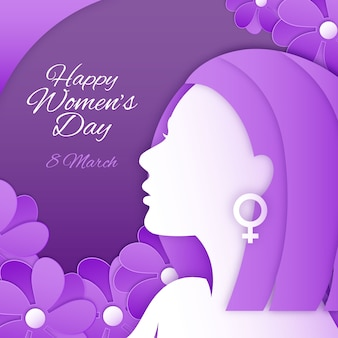 Happy women's day in paper style with flowers