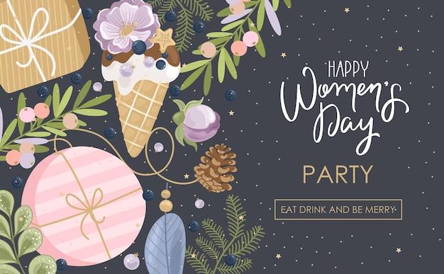 手描きの花のバナーで幸せな女性の日のパーティーの挨拶