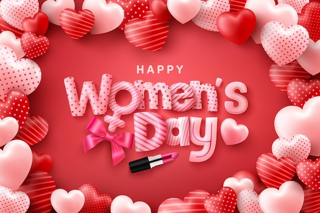 Happy women's day poster or banner with cute font on red and sweet hearts background.