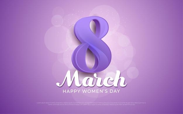 Happy women's day purple in realistic style