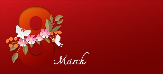 Happy women's day on red background.