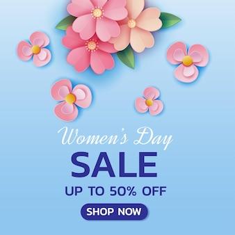 Счастливый женский день распродажа баннер шаблон