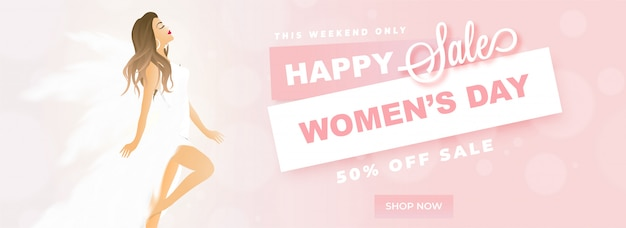 Happy women's day sale header or banner design with beautiful wo