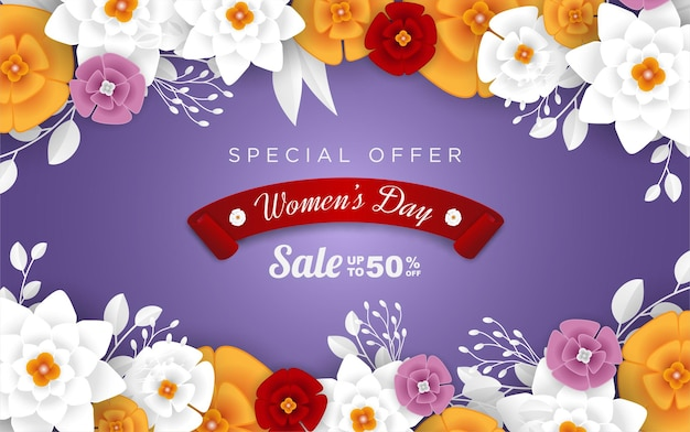 Happy women's day sale with realistic flower