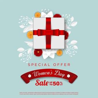 Распродажа с женским днем с реалистичной подарочной коробкой и цветочным принтом